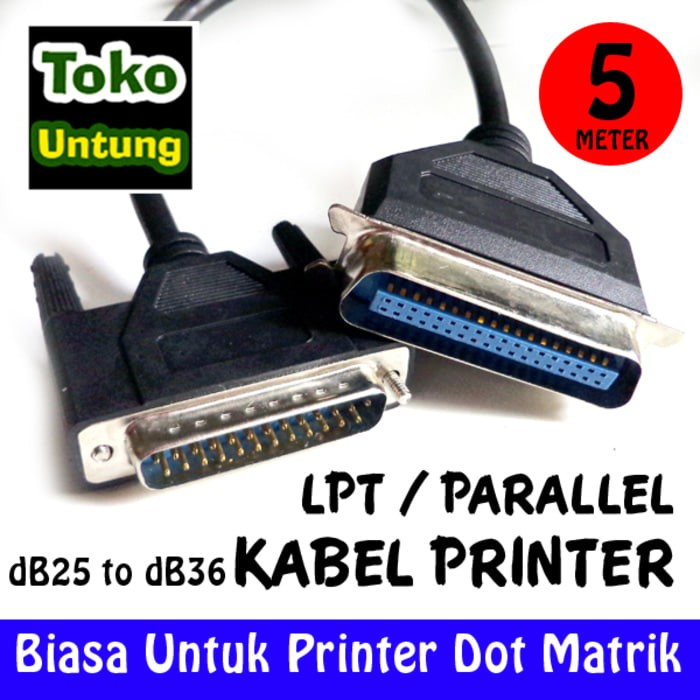Foto Produk baru Kabel Printer Dotmatrik LPT db25 Pin to db36 Pin 5 Meter dari el-nur