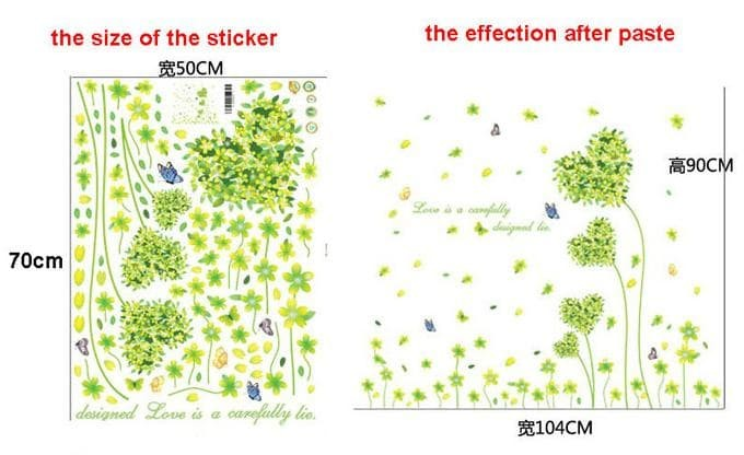 Green Flowers Love Heat Am7047 - Stiker Dinding / Wall Sticker (50X70)