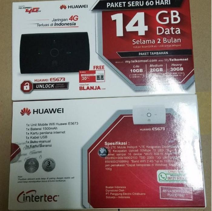 harga Huawei e5673 modem 4g mifi bundling telkomsel 14gb Tokopedia.com