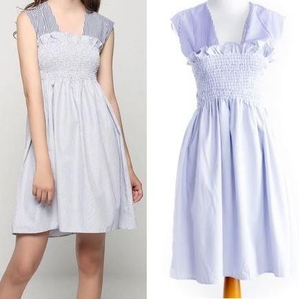 harga Import stripe flare blue white dress biru garis summer casual pantai Tokopedia.com
