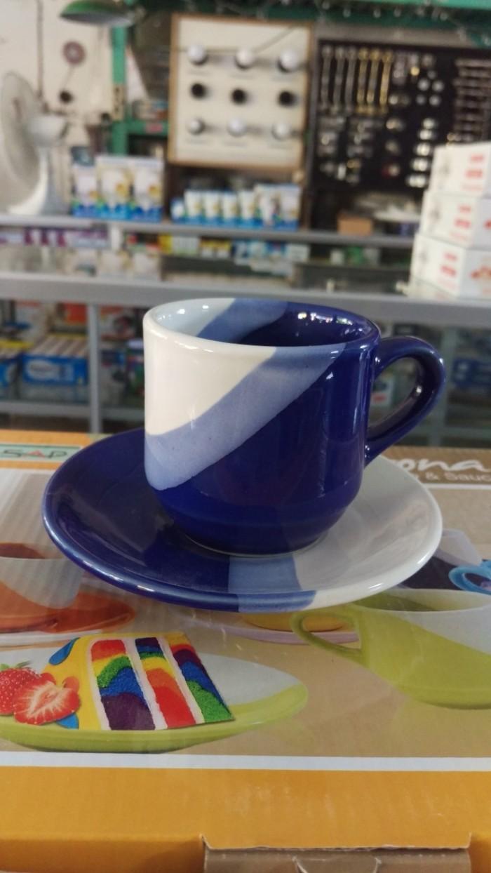Jual Gelas Cangkir Kopi Teh Set Keramik Isi 6 Minimalis Garis Merk Verona Kab Wonogiri Winona