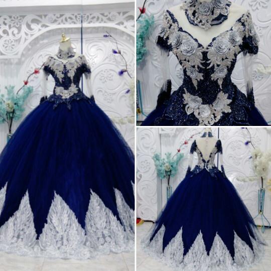 harga Gaun barbie navy silver kebaya pengantin muslim modern Tokopedia.com