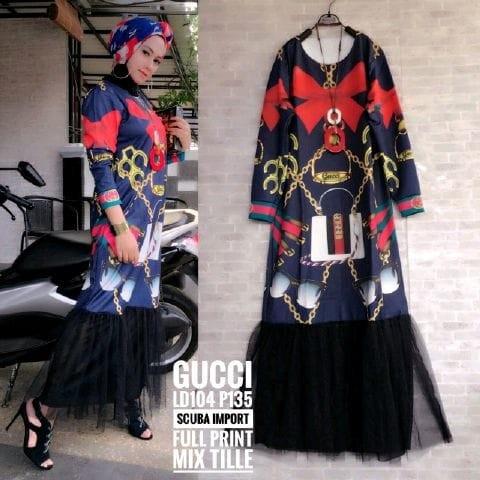 Jual Baju Gamis Maxy Gucci Scuba Import Full Print Mix Tile Des