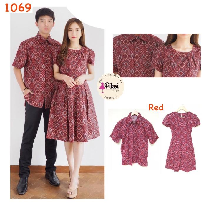 Flavia Store Batik Couple Fs0246 Maroon Baju Pasangan Sepasang ... - Kebaya Kutu Baru