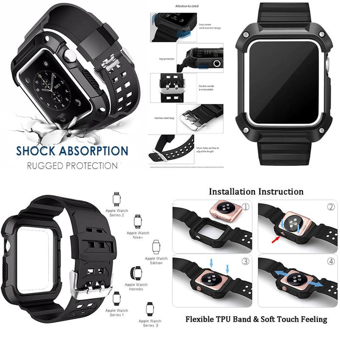 Foto Produk Armor Strap Band with Case for Apple Watch 38mm - Hitam dari PremiumCases