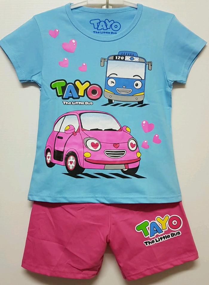 harga Setelan anak size 1-6 tayo the little bus love biru | kaos anak tayo Tokopedia.com