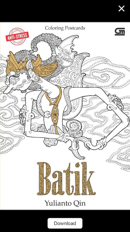 harga Anti-stress: coloring postcards - batik by yulianto qin / warnai batik Tokopedia.com