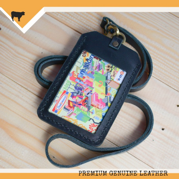 harga Gantungan id card kulit asli warna hitam | id card holder name tag Tokopedia.com