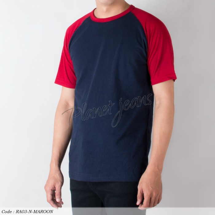 Baju Kaos Raglan Polos Tangan Pendek Pria Merah Maroon Biru Navy RA03