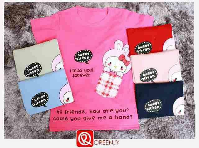 harga 4684 kaos wanita oreenjy sweet kitten Tokopedia.com