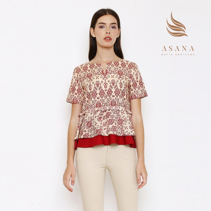 Asana panawangan woman blouse batik wanita - beige - beige s