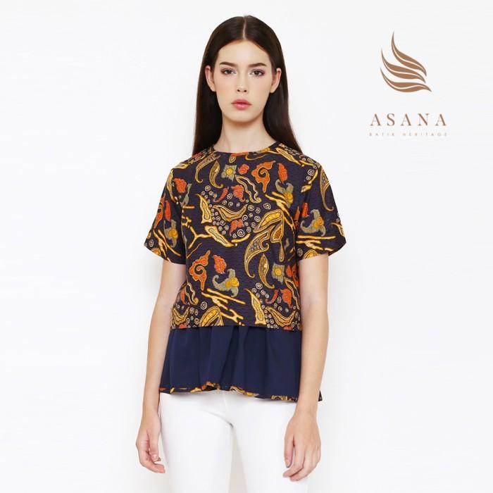 Asana laeya woman blouse batik wanita - navy - navy xs
