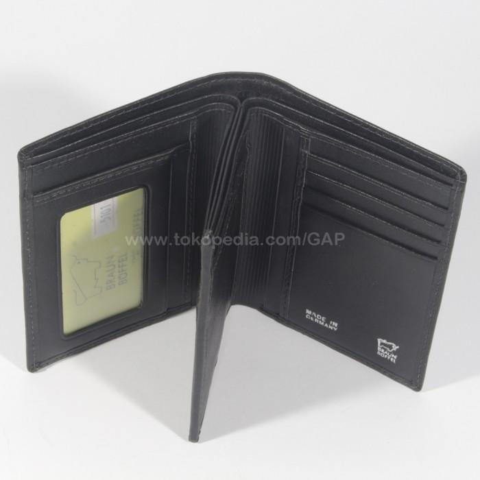 DOMPET KULIT PRIA BERDIRI IMPORT BRANDED   BRAUN BUFFEL 5101 BLACK .