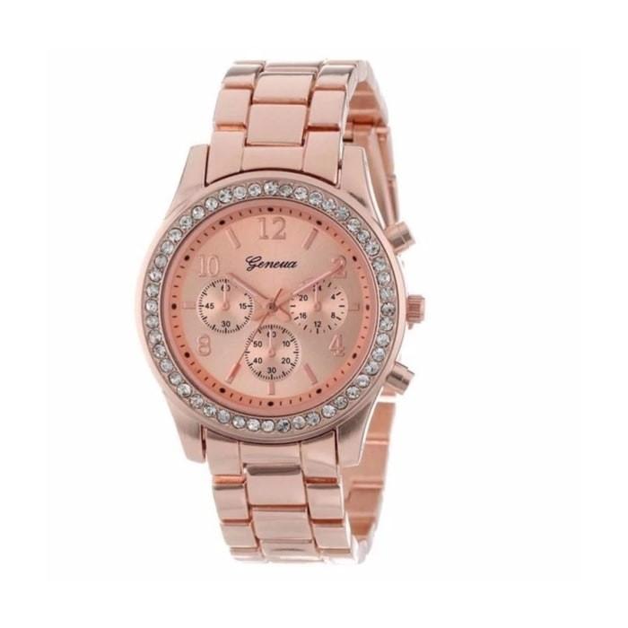Termurah Jam Tangan Wanita Geneva Crystal Embellished Shiny - Rose