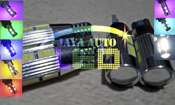T10 Led Lensa Alumunium Projector Lampu Senja mobil motor lampu sein - Hijau muda