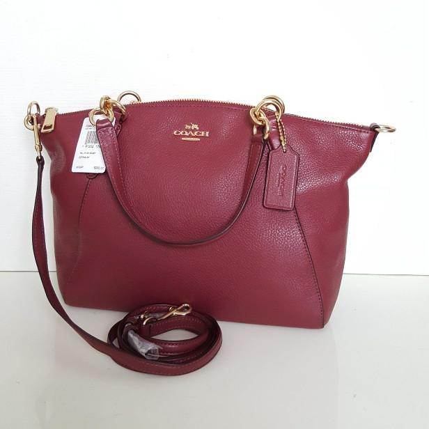 ... harga Tas coach small kelsey crimson leather (warna baru burgundy)  original Tokopedia.com 0310049634