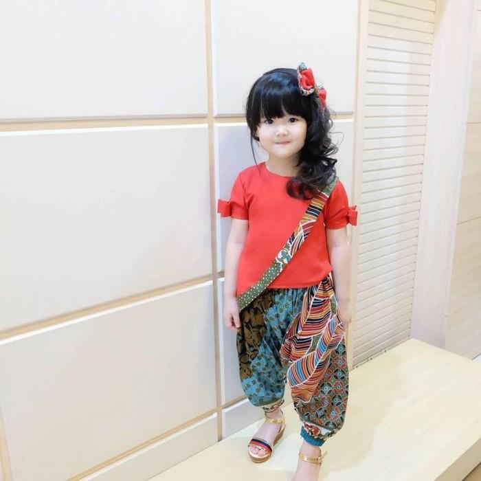Foto Baju Batik Anak Modern Jual Ethnic Salsa Merah Size 6th Setelan Batik Modern Baju Batik