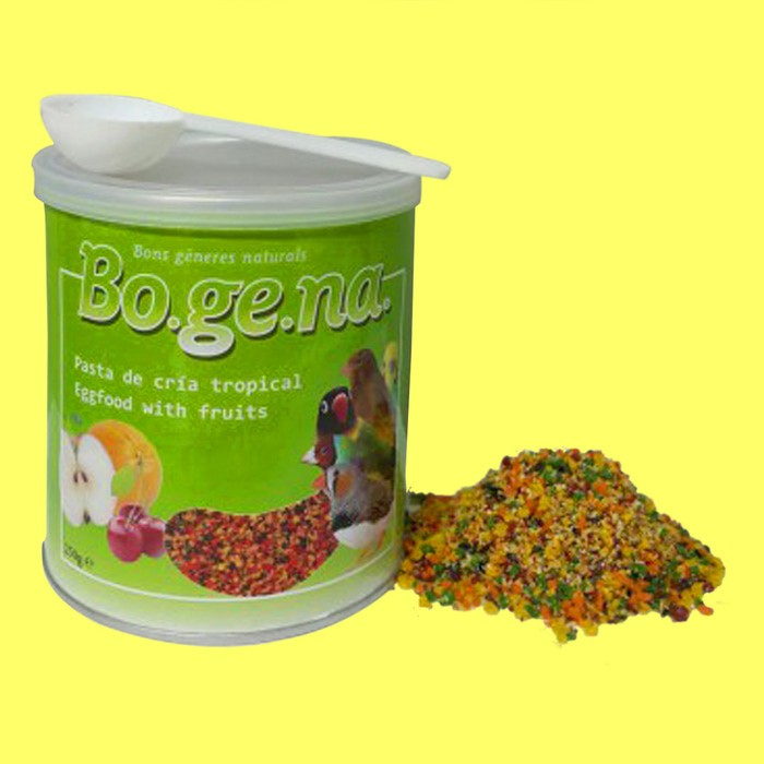 Bogena egg food with fruits lovebird pakan burung