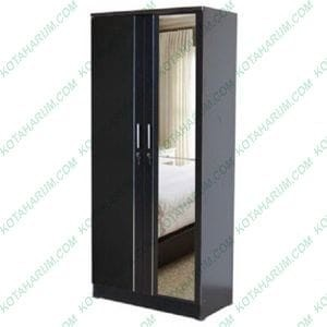 harga Lemari baju pakaian cermin kaca 2 pintu hitam murah ekonomis bandung Tokopedia.com