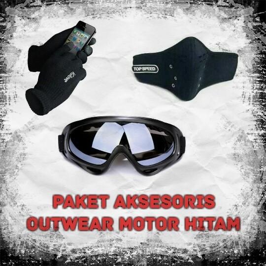 harga Paket aksesoris outwear black kacamata motor masker half face iglove Tokopedia.com