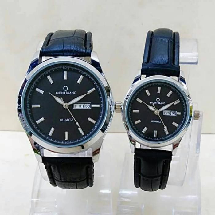 Jam Tangan Montblanc Couple M0346 Hitam Silver