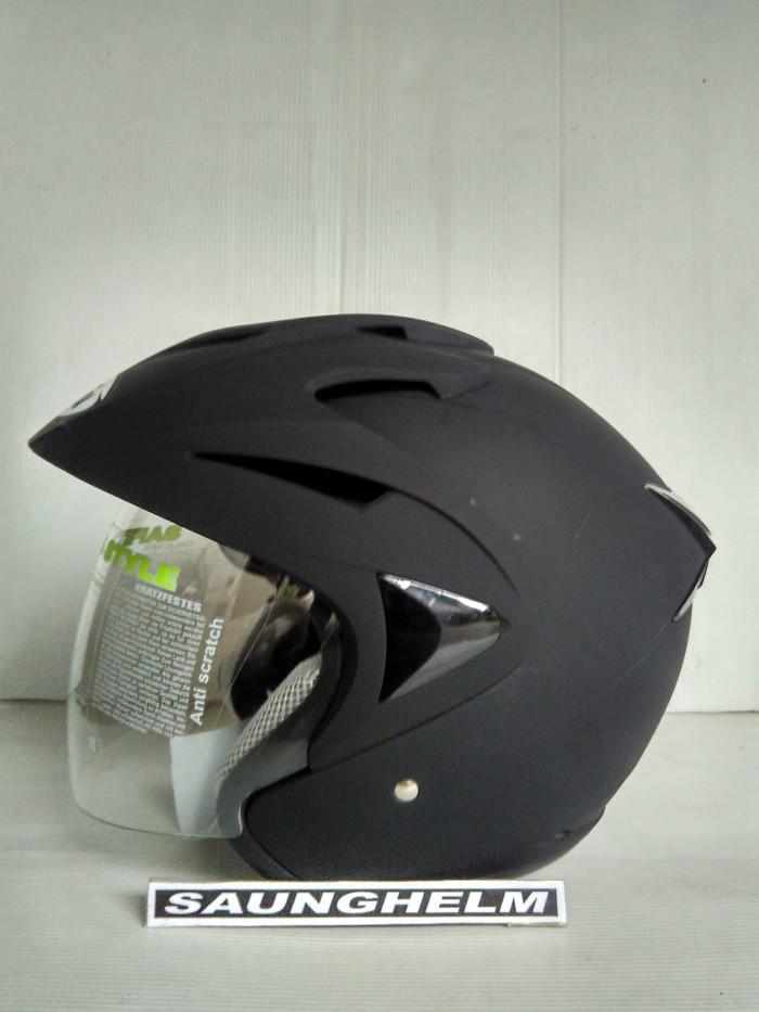 harga Helm hiu arrow double visor solid black doff Tokopedia.com