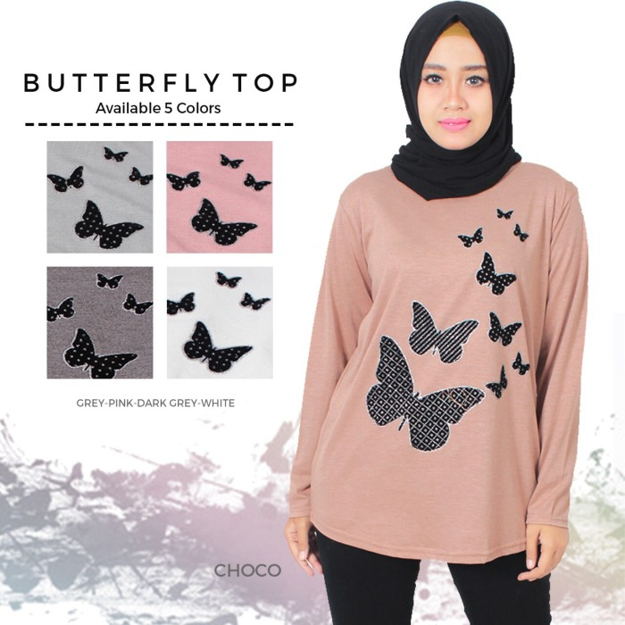 Foto Produk kaos muslim/ kaos fashion/ kaos big size butterfly top dari Iconique