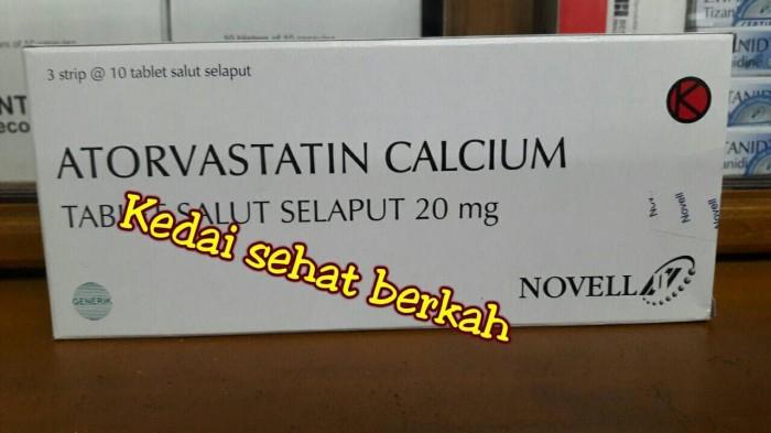 harga Atorvastatin calcium 20mg(produk novell) ||harga per box@3strip||murah Tokopedia.com