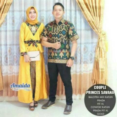 Kebaya Modern Batik Sarimbit Keluarga Seragaman Couple Princes Savana