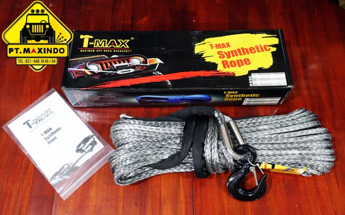 harga T-max grey dyneema winch synthetic rope 10mm x 28m (10ton) tali winch Tokopedia.com