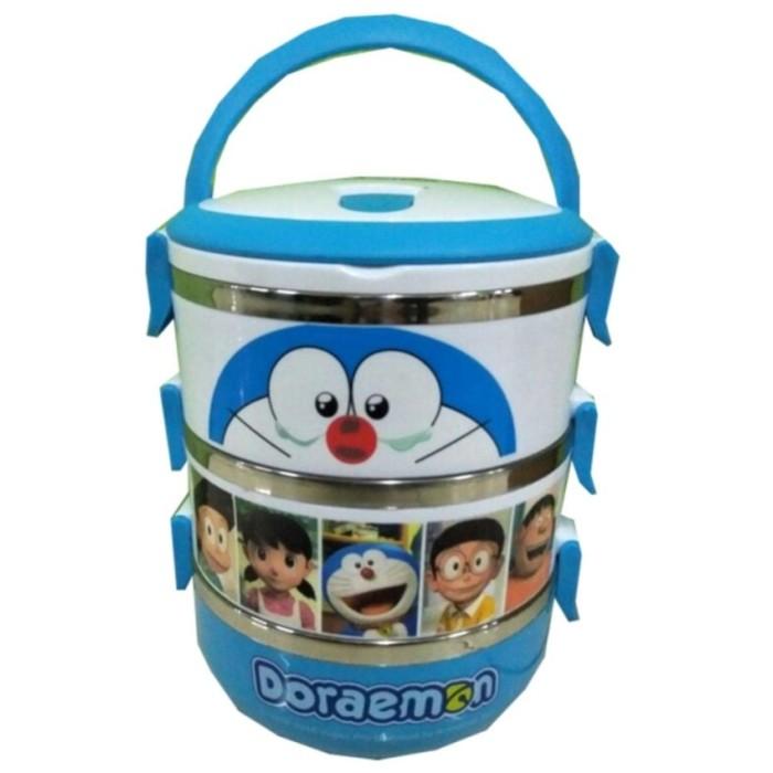 Rantang Karakter 3 Susun Motif Doraemon and Friends - Biru