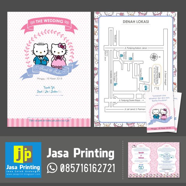 Jual Undangan Pernikahan Motif Kartun Hello Kitty Lucu Unik Kota Tangerang Jasa Printing Tokopedia
