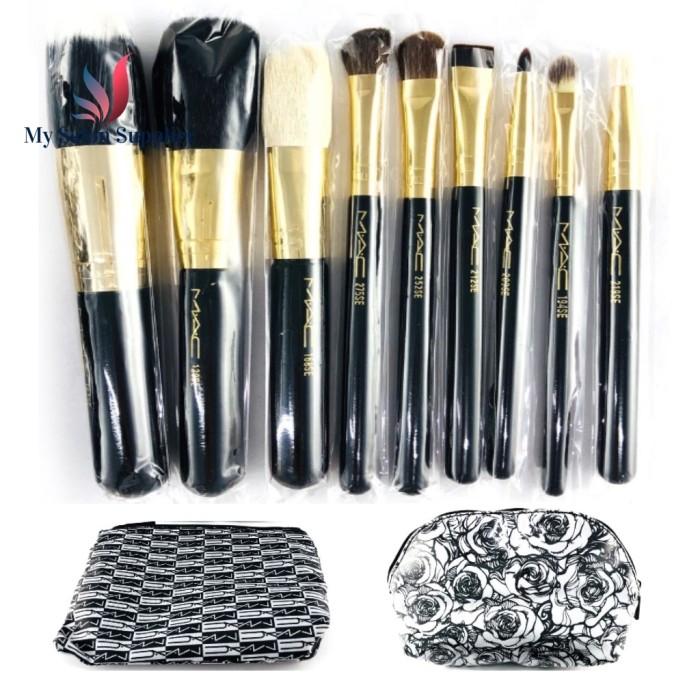 harga Kuas make up brush set mac isi 10 + 2 pouch bunga