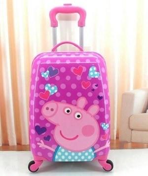 Tas Koper Anak Fiber 4 roda Peppa Pig Love Murah Grosir Terbaru