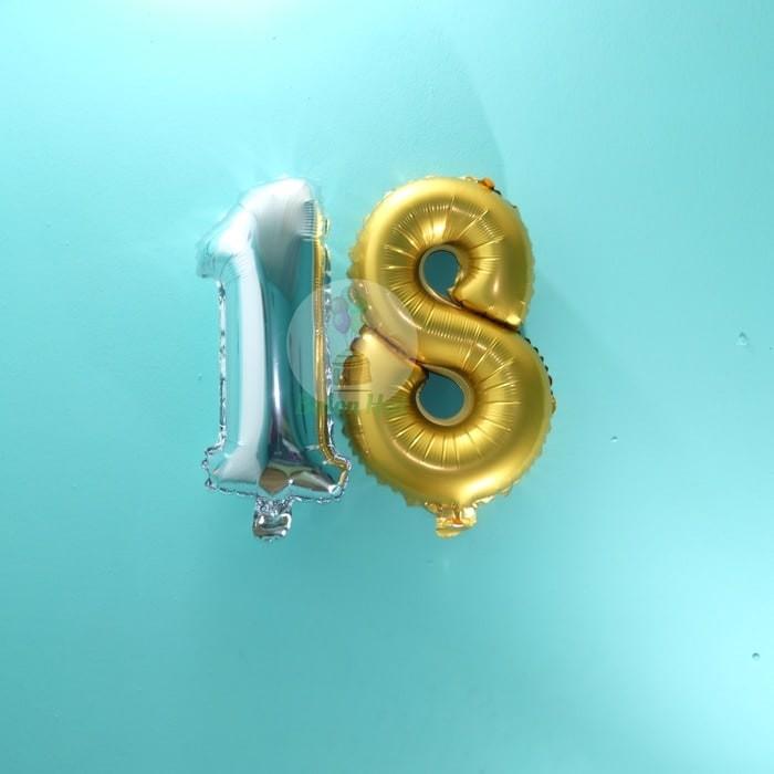 Balon Foil Huruf Angka - Gold & Silver Polos / Biru & Pink Motif 45cm
