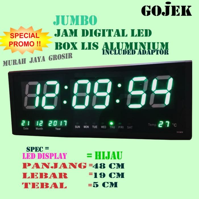 Jam dinding digital ukuran besar 48x19 cm  4819led hijau harga ... 782e6a4131