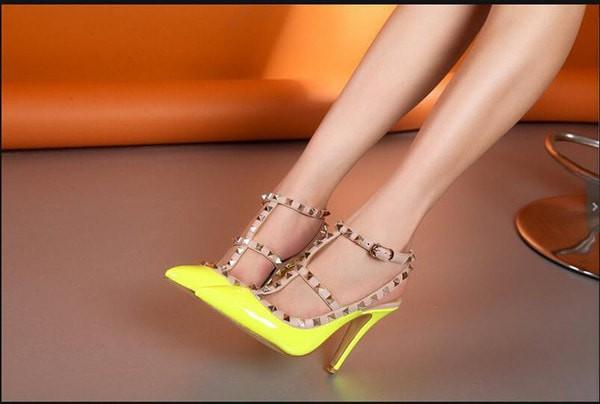 Sn406 high heels wanita kuning