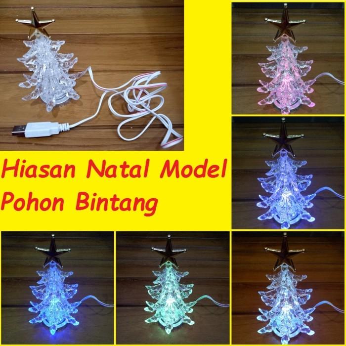 Lampu hiasan natal model pohon bintang warna warni usb tree star kaca