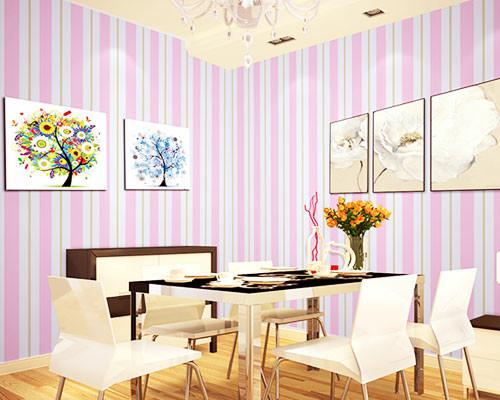 jual grosir murah -wallpaper sticker dinding pink putih garis emas