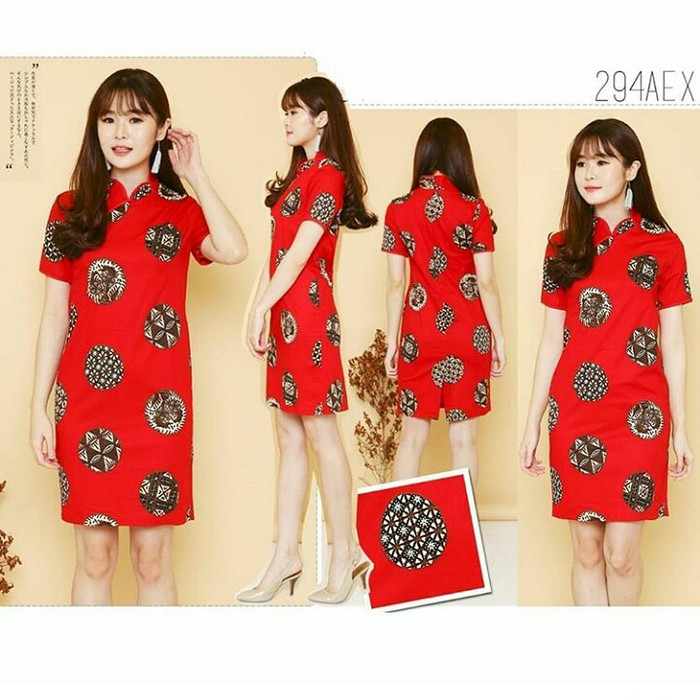 harga Dress batik cheongsam lengan dress imlek natal Tokopedia.com
