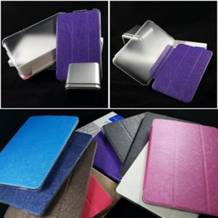 Lenovo Tab A1000 Flip Cover Silk Case Fashion Transparan Back Clear