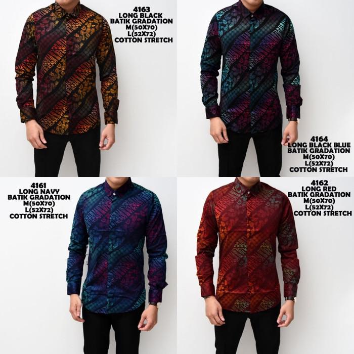 Kemeja Batik Pria Gradation Panjang Katun Slimfit Baju Batik Cowok