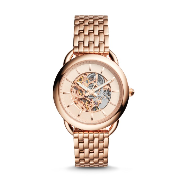 Jam tangan fossil es-3145 tailor automatic rose gold-tone stainless b283530069