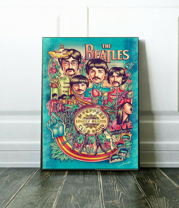 Foto Produk Hiasan Dinding Wall Decor Kayu Ukuran 210x297mm POP ART THE BEATLES dari Quinnara Shop