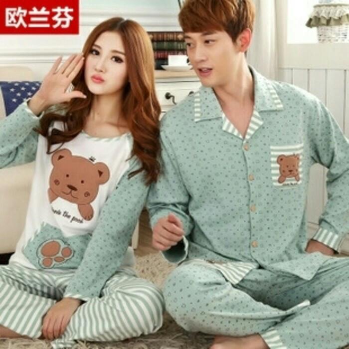 harga Baju tidur couple pasangan bear dot greens Tokopedia.com