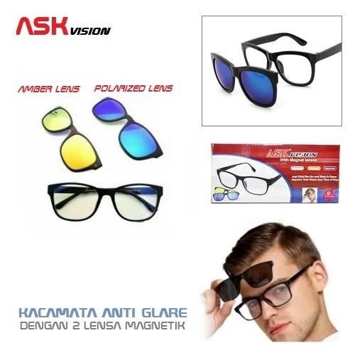 Kacamata Ask Vision Anti Silau Dan Fashion 3 Frame Lensa Dan Magnet ... 4499f697b2