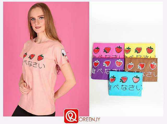 harga 4604 kaos wanita oreenjy strawberry Tokopedia.com