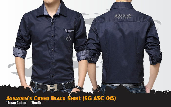 Jual Kemeja Anime Game Assassins Creed Korean Style Black Shirt