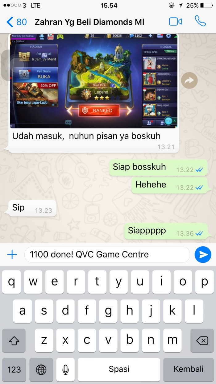 Jual Jasa Top Up Diamonds Mobile Legends Legal Aman Termurah 550