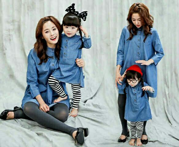 harga Couple pasangan mom kids ibu anak baju blouse holland katun denim Tokopedia.com